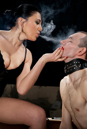 Stunningly beautiful femdom Mistress trains her sex slaves like dirty dogs